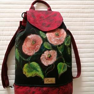 """,,ILDIKÓ \""""3 az 1-ben kézzel festett táska., Táska & Tok, Hátizsák, Hátizsák, Varrás, Festészet, Ezt az egyedi mintázatú, designer táskát, olyan hölgyeknek, lányoknak, ajánlom akik szeretik az ötle..., Meska"""