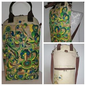 """,,Anna"""" kézzel festett táska., Táska & Tok, Variálható táska, Az új forma, az erős vízhatlan cordura anyag, és a kézzel festett fantázia minta alkotják ennek az e..., Meska"""