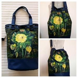 """,, HÉDI""""4 az 1-ben kézzel festett táska., Táska & Tok, Hátizsák, Hátizsák, Ezt az egyedi mintázatú, designer táskát, olyan hölgyeknek, lányoknak, ajánlom akik szeretik az ötle..., Meska"""