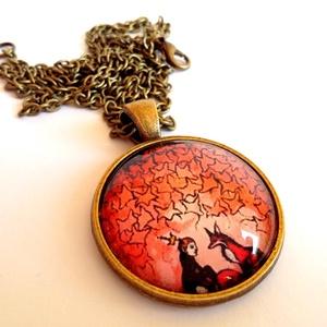 A kis herceg és a róka 2., Ékszer, Medál, Ékszerkészítés, A képen látható medál lencseátmérője 25 mm, az alap sima szélű antikolt bronz darab. A lánc hossza ..., Meska