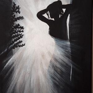Női sziluett, Otthon & lakás, Lakberendezés, Falikép, Festészet, Akril festmény 20x40 cm Fekete, fehér  Ablakon átszűrődő fényben álló női alakot ábrázoló festmény...., Meska