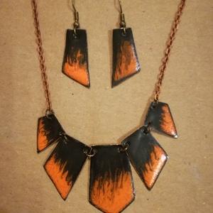 Narancs/fekete azték hatású nyaklánc és fülbevaló, Ékszer, Ékszerszett, Tűzzománc, Narancs/fekete azték hatású tűzzománc nyaklánc és fülbevaló, Meska