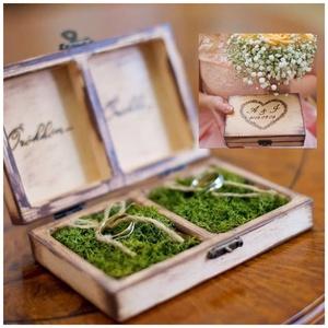 Vintage esküvői gyűrűtartó doboz fából, Gyűrűtartó & Gyűrűpárna, Kiegészítők, Esküvő, Famegmunkálás, Festett tárgyak, Ha nem szeretnéd a szokásos gyűrűtartó párnát stb választani a nagy napodon és valami egyedit kerese..., Meska