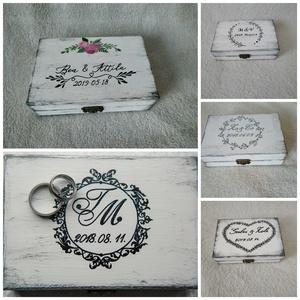 Vintage esküvői gyűrű tartó doboz fából (Csicsi8) - Meska.hu