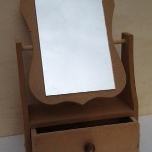 Fiókos asztali tükör MDF 22x10x36 cm, Fa, Díszíthető tárgyak, Decoupage, szalvétatechnika, Festett tárgyak, festészet, Festőfelület, Fiókos asztali tükör MDF 22x10x36 cm, Meska