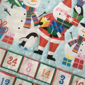 Mikulásos, hóemberes adventi naptár, Adventi naptár, Karácsony & Mikulás, Otthon & Lakás, Varrás, 51x69cm + 5cm-es fülek\n\n4 füle van, amivel felakaszthatod. A zsebek 7x7cm-esek. Hátoldala drapp vász..., Meska
