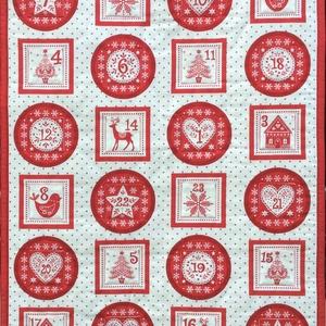 Skandináv stílusú adventi naptár, Adventi naptár, Karácsony & Mikulás, Otthon & Lakás, Patchwork, foltvarrás, Varrás, 55x73cm. \nA naptár elhelyezése ragsztható tépőzárral történik.\nA 6x6 cm-es zsebeket kibéleltem és úg..., Meska