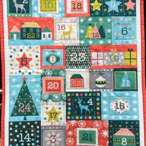 """""""Boldog Karácsonyt"""" adventi naptár, Adventi naptár, Karácsony & Mikulás, Otthon & Lakás, Varrás, 56x68cm\nA felfogatás ragasztható tépőzárral történik. A bélelt zsebek 6,5x8cm-esek. Hátoldala drapp ..., Meska"""