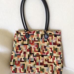 Színes női táska kék bőr füllel, Táska & Tok, Kézitáska & válltáska, Válltáska, Varrás, Meska