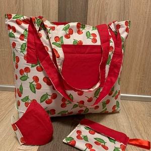 Cseresznye Táska Szett , NoWaste, Bevásárló zsákok, zacskók , Táska, Divat & Szépség, Táska, Szatyor, Varrás, Cseresznye mintás, összecsomagolható táska szett, maszkkal és kis szütyővel. \nMagassága 42 cm. Széle..., Meska
