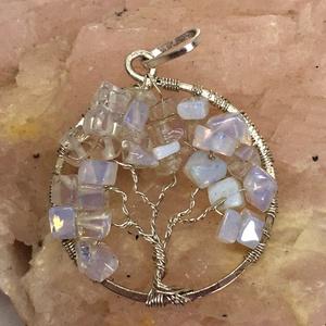 Opalit életfa medál, Medál, Nyaklánc, Ékszer, Ékszerkészítés, Fémmegmunkálás, Ezt az életfát opalitból készítettem a saját, forrasztott alapomra, amely nikkelmentesen ezüstözött ..., Meska