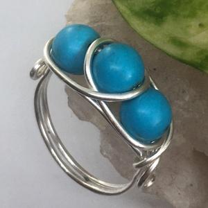 Háromköves türkenit gyűrű, Ékszer, Gyűrű, Többköves gyűrű, Ékszerkészítés, Fémmegmunkálás, Meska