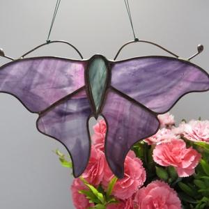 Tiffany pillangós ablakdísz, Otthon & lakás, Dekoráció, Képzőművészet, Lakberendezés, Üvegművészet, Tiffany technikával készült ablakdísz, különböző színekben. Mérete 13 x 10 cm.\n, Meska