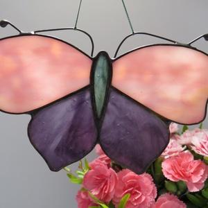 Tiffany pillangós ablakdísz, Otthon & lakás, Lakberendezés, Dekoráció, Üvegművészet, Tiffany technikával készült ablakdísz. Mérete: 14 x 10 cm., Meska