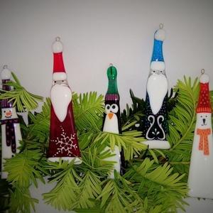 Üveg karácsonyfadísz 5 db-os szett, Karácsony & Mikulás, Karácsonyfadísz, Üvegművészet, Üvegolvasztásos technikával készült dekor/ karácsonyfa dísz, különböző mintával. Mérete: kb. 14  cm...., Meska