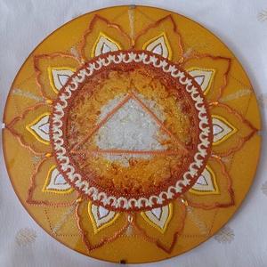 Napfonat Csakra Mandala, Otthon & lakás, Dekoráció, Kép, Üvegművészet, Festészet, Napfonat csakra mandala, amely a magabiztosság, önbizalom, bátorság, erő, céltudatosság elérésében t..., Meska