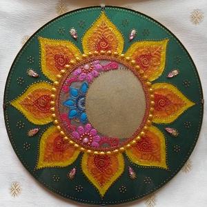 Nap-Hold Mandala, Otthon & lakás, Dekoráció, Kép, Üvegművészet, Festészet, A nap és hold szimbólum erősíti a női és férfi energia egyensúlyát, a harmóniát, összetartozást, köz..., Meska