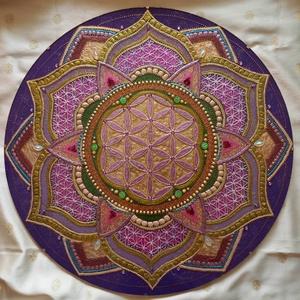 Az Élet Virág Mandala, Otthon & lakás, Dekoráció, Kép, Üvegművészet, Festészet, A harmónia mandalája a felső csakrák színeivel festve, az életörömöt az elégedettséget jelképezi. A ..., Meska