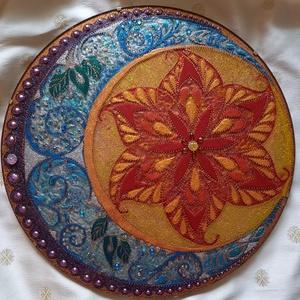 Nap-Hold Mandala, Otthon & lakás, Képzőművészet, Dekoráció, Kép, Üvegművészet, Festészet, A nap és hold szimbólum erősíti a női és férfi energia egyensúlyát, a harmóniát, összetartozást, köz..., Meska