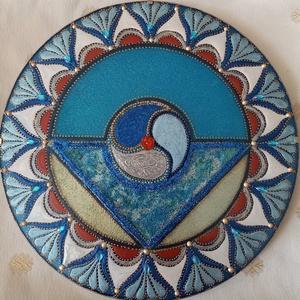 Torokcsakra Mandala, Otthon & lakás, Dekoráció, Kép, Üvegművészet, Festészet, Torokcsakra mandala\nSegíti a kommunikációt és az önkifejezést, torokfájás, pajzsmirigyzavarok és hal..., Meska