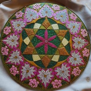 Szívcsakra Mandala, Otthon & lakás, Dekoráció, Kép, Festészet, Üvegművészet, Szívcsakra mandala\nSegít kialakítani egy együttérző, szeretetteljes, a szerelemben és emberi kapcsol..., Meska