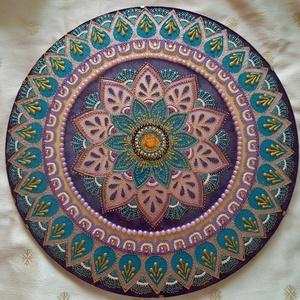 Virág Mandala, Otthon & Lakás, Dekoráció, Kép & Falikép, Festészet, Üvegművészet, A mandala a kék és lila színeivel a torokcsakra (kommunikáció) és a koronacsakra (spiritualitás) har..., Meska