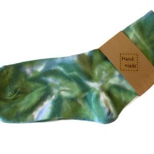 """SunBatik_Zokni _ zöld_türkiz__márványos , Ruha & Divat, Női ruha, Selyemfestés, A \""""SunBatik\"""" zoknik egyedi, kézzel készült 100% pamut zoknik. \nA színes , vidám zoknikat ajánlom fér..., Meska"""