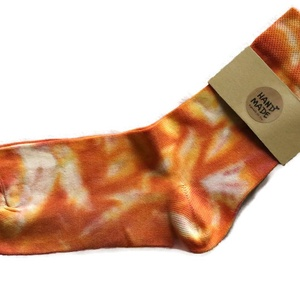 """SunBatik_Zokni _ narancsos_piros__márványos , Ruha & Divat, Női ruha, Selyemfestés, A \""""SunBatik\"""" zoknik egyedi, kézzel készült 100% pamut zoknik. \nA színes , vidám zoknikat ajánlom fér..., Meska"""