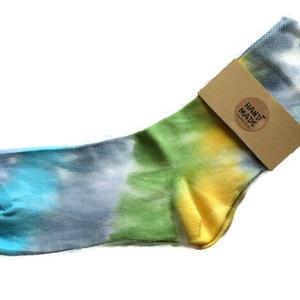 """SunBatik_Zokni _V_zöld_kék_türkiz, Ruha & Divat, Női ruha, Selyemfestés, A \""""SunBatik\"""" zoknik egyedi, kézzel készült 100% pamut zoknik. \nA színes , vidám zoknikat ajánlom fér..., Meska"""
