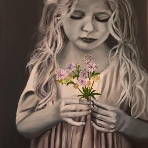 Kislány virággal, Művészet, Festmény, Olajfestmény, Festészet, A szépség körülvesz minket a hétköznapokban; az utcán, az otthonunkban, legyen az egy árnyék a falon..., Meska