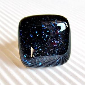 Csillagfényes éjszaka sötétkék üveg gyűrű, üvegékszer, Ékszer, Gyűrű, Statement gyűrű, Ékszerkészítés, Üvegművészet, AKCIÓ! - 3 BÁRMILYEN TERMÉK vásárlása esetén a harmadikból 50 % KEDVEZMÉNY, akár INGYEN POSTÁZÁS és ..., Meska