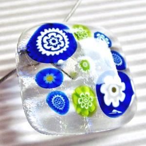 Borsószem királykisasszony üveg  medál és fülbevaló, NEMESACÉL, millefiori, virág, üvegékszer szett - ékszer - ékszerszett - Meska.hu