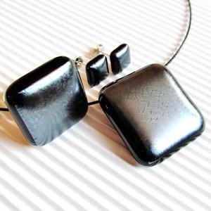 Ezüst metál üveg medál, gyűrű és fülbevaló orvosi fém alapon, üvegékszer szett - Meska.hu
