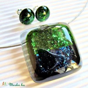 Jégkirálynő álma üveg medál NEMESACÉL akasztón, nyaklánc, üvegékszer - ékszer - nyaklánc - medálos nyaklánc - Meska.hu
