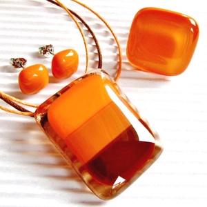 Indián nyár üveg medál,gyűrű és fülbevaló NEMESACÉL/ORVOSI FÉM, üvegékszer szett - Meska.hu