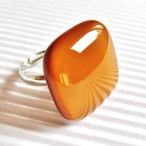 Karamell üveg gyűrű, üvegékszer, Ékszer, Gyűrű, Statement gyűrű, Ékszerkészítés, Üvegművészet, Meska