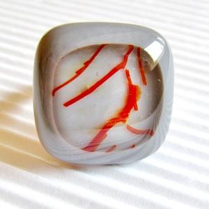 Galambszürke csillaghullás üveg gyűrű, üvegékszer, Ékszer, Gyűrű, Statement gyűrű, Ékszerkészítés, Üvegművészet, Meska