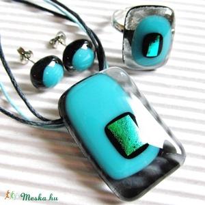 Hamvas türkiz fény üveg gyűrű, üvegékszer - ékszer - gyűrű - statement gyűrű - Meska.hu