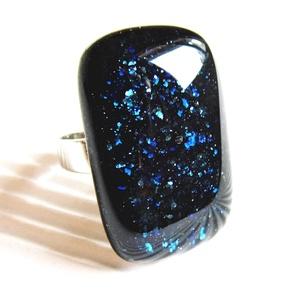 Csillagfényes éjszaka sötétkék elegáns üveg gyűrű, üvegékszer, Ékszer, Gyűrű, Statement gyűrű, Ékszerkészítés, Üvegművészet, Szikrázóan csillámló, sötétkék aventurin ékszerüvegből olvasztottam ezt az elegáns, mutatós, trendi ..., Meska
