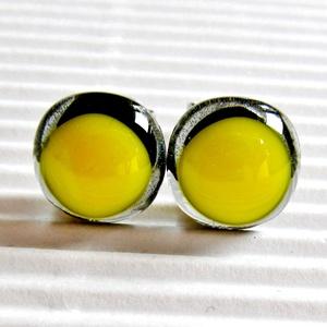 AKCIÓ! - Élénk sárga áttetsző szürkén üveg fülbevaló, üvegékszer, Ékszer, Fülbevaló, Pötty fülbevaló, Ékszerkészítés, Üvegművészet, Meska