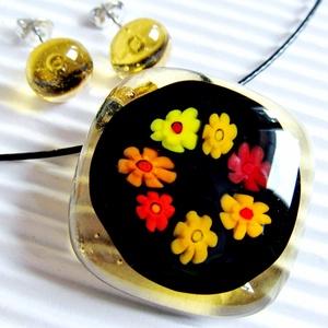 Borostyán virág zuhatag medál és fülbevaló, NEMESACÉL, millefiori, üvegékszer szett, Ékszer, Ékszerszett, Ékszerkészítés, Üvegművészet, Meska