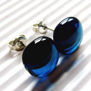 Teal üveg fülbevaló ORVOSI FÉM bedugón, üvegékszer, Ékszer, Fülbevaló, Pötty fülbevaló, Ékszerkészítés, Üvegművészet, Meska