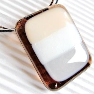 Mézes krémes üveg medál és fülbevaló, NEMESACÉL, üvegékszer szett - Meska.hu