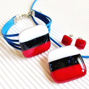 Tengerész üveg medál, gyűrű, fülbevaló és üveg-bőr karkötő, NEMESACÉL/ORVOSI FÉM üvegékszer szett - ékszer - ékszerszett - Meska.hu
