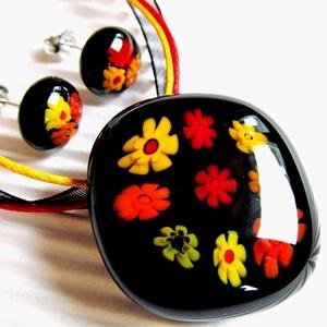 Fekete virágfolyó üveg medál virágzó fülbevalóval, üvegékszer szett, NEMESACÉL/ORVOSI FÉM, millefiori - Meska.hu