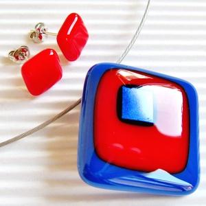 Tengerész üveg medál és fülbevaló, NEMESACÉL/ORVOSI FÉM, üvegékszer szett, Ékszer, Ékszerszett, Ékszerkészítés, Üvegművészet, Meska