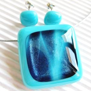 Kék csillám türkizben üveg medál és fülbevaló, NEMESACÉL/ORVOSI FÉM, üvegékszer szett - Meska.hu