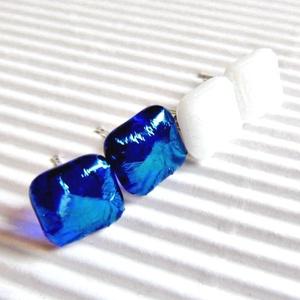 Tavaszi ég üveg fülbevalók orvosi fém bedugón, üvegékszer szett, Ékszer, Ékszerszett, Ékszerkészítés, Üvegművészet, Meska