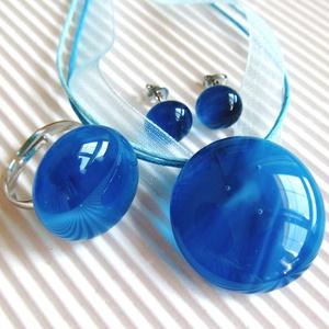 Végtelen óceán - kék kerek üveg medál, gyűrű és fülbevaló, üvegékszer szett (CSILLAGuveg) - Meska.hu