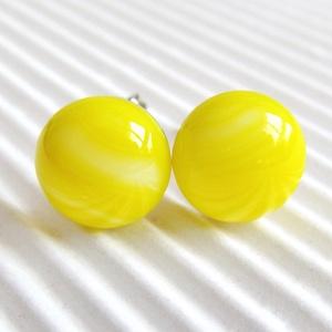 AKCIÓ! - Élénk sárga pötty üveg fülbevaló, üvegékszer, Ékszer, Fülbevaló, Ékszerkészítés, Üvegművészet, AKCIÓ! Nikkelmentes alapra szerelt bedugós és lógós fülbevalóimat kifuttatom, ha most vásárolsz 3 pá..., Meska